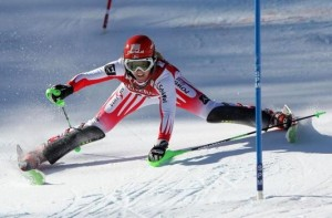 ASPEN, CO - NOVEMBER 29: Alexandra Daum of Austria misses a gate and skis off course during the first run of the Women's FIS Alpine World Cup Slalom on November 29, 2009 in Aspen, Colorado. Daum suffered a leg injury and needed to be taken off the mountain via sled. (Photo by Doug Pensinger/Getty Images)