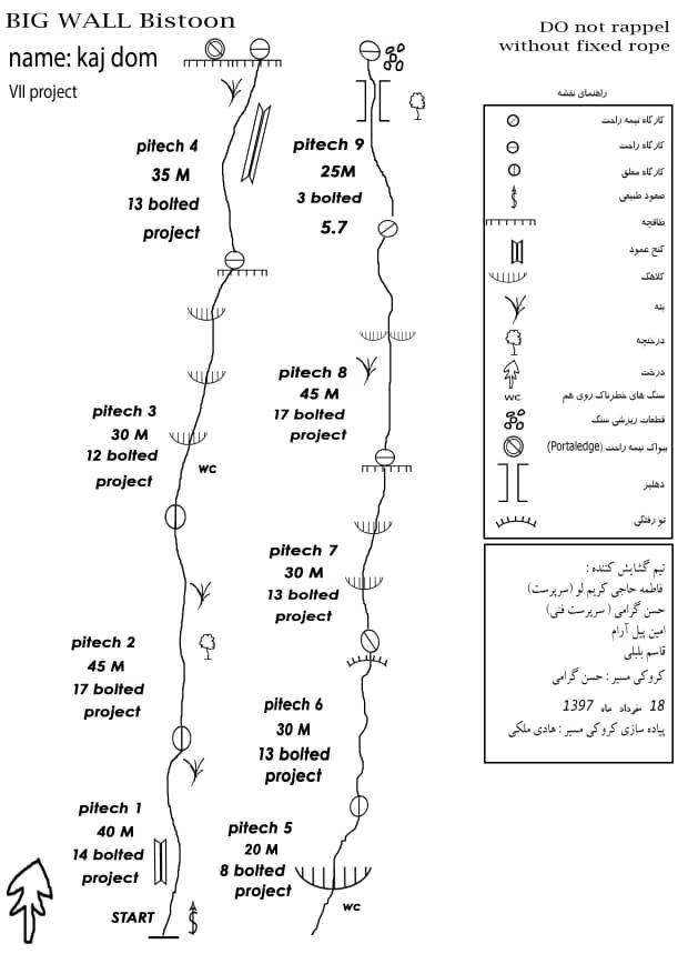 گزارش گشایش مسیر روی دیواره بیستون به نام کژ دم